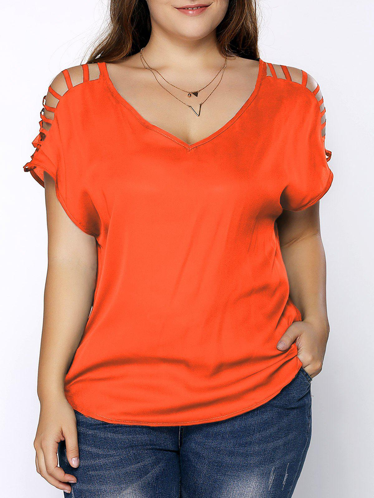 Plus Size Ripped Sleeve V Neck T-Shirt - JACINTH 5XL
