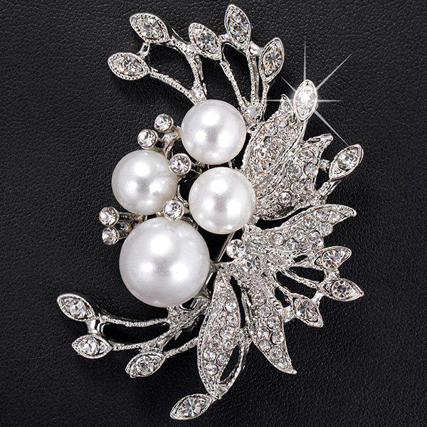 Flower Shape Faux Pearl Rhinestone Inlaid Brooch - SILVER