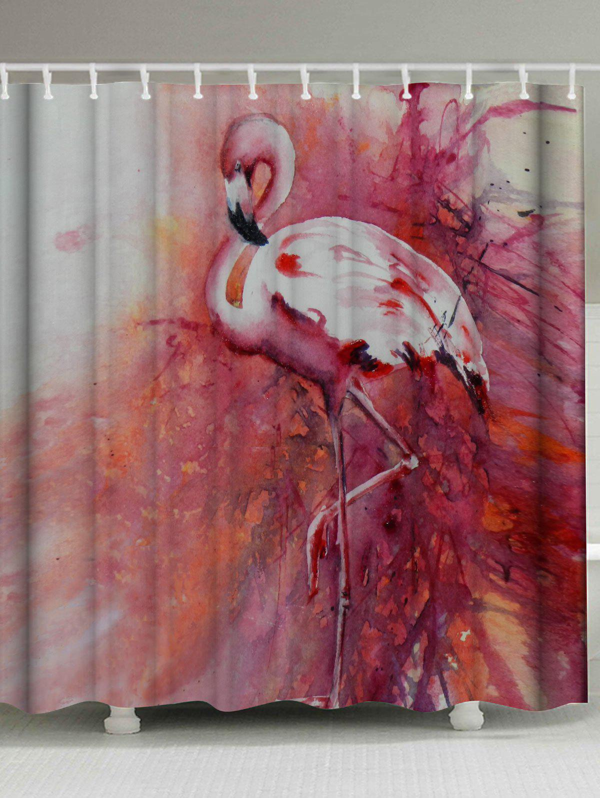 2018 Flamingo Waterproof Shower Curtain with Hooks PINK W INCH L ...