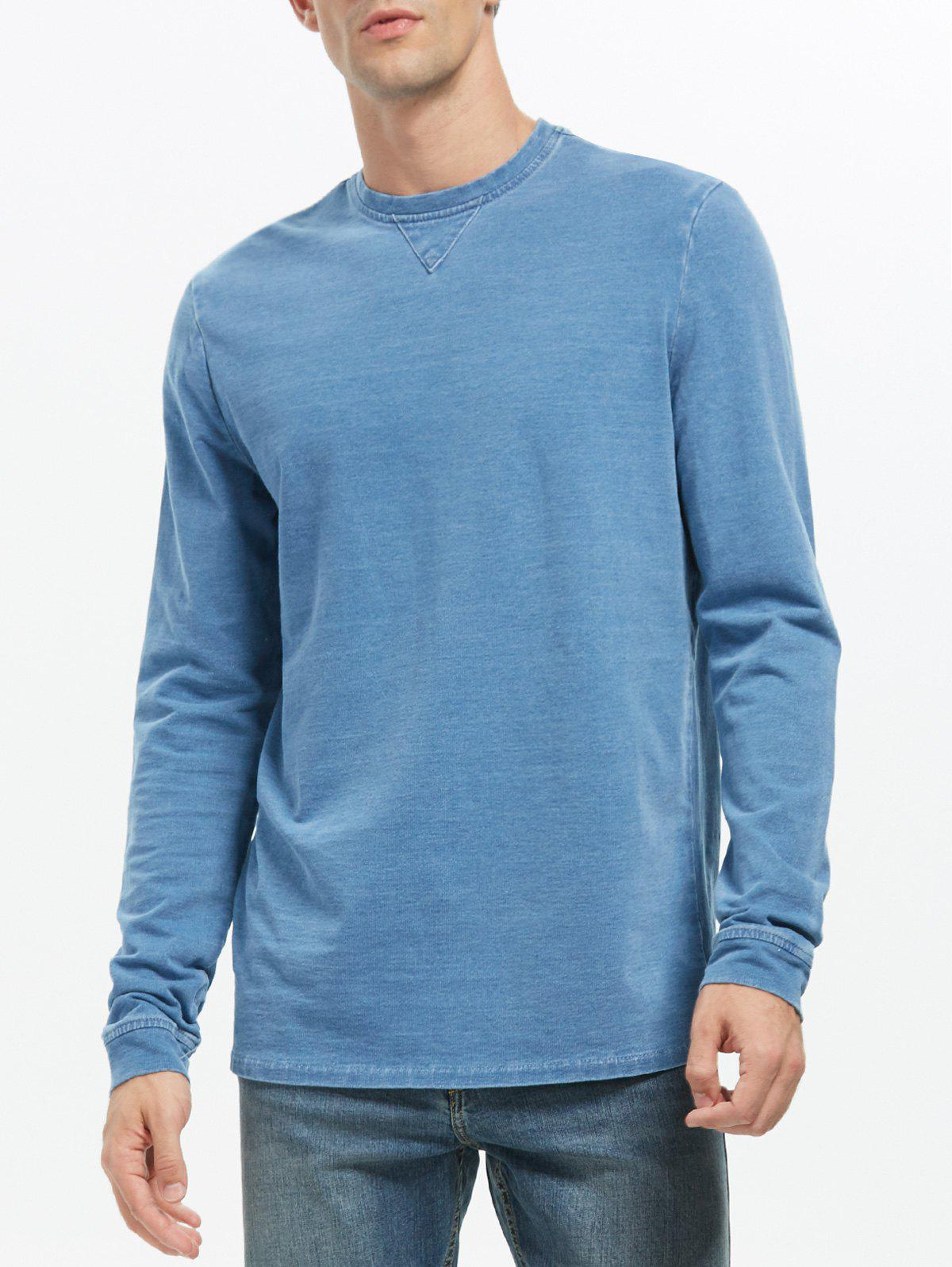 Plain Crew Neck Sweatshirt - BLUE 3XL