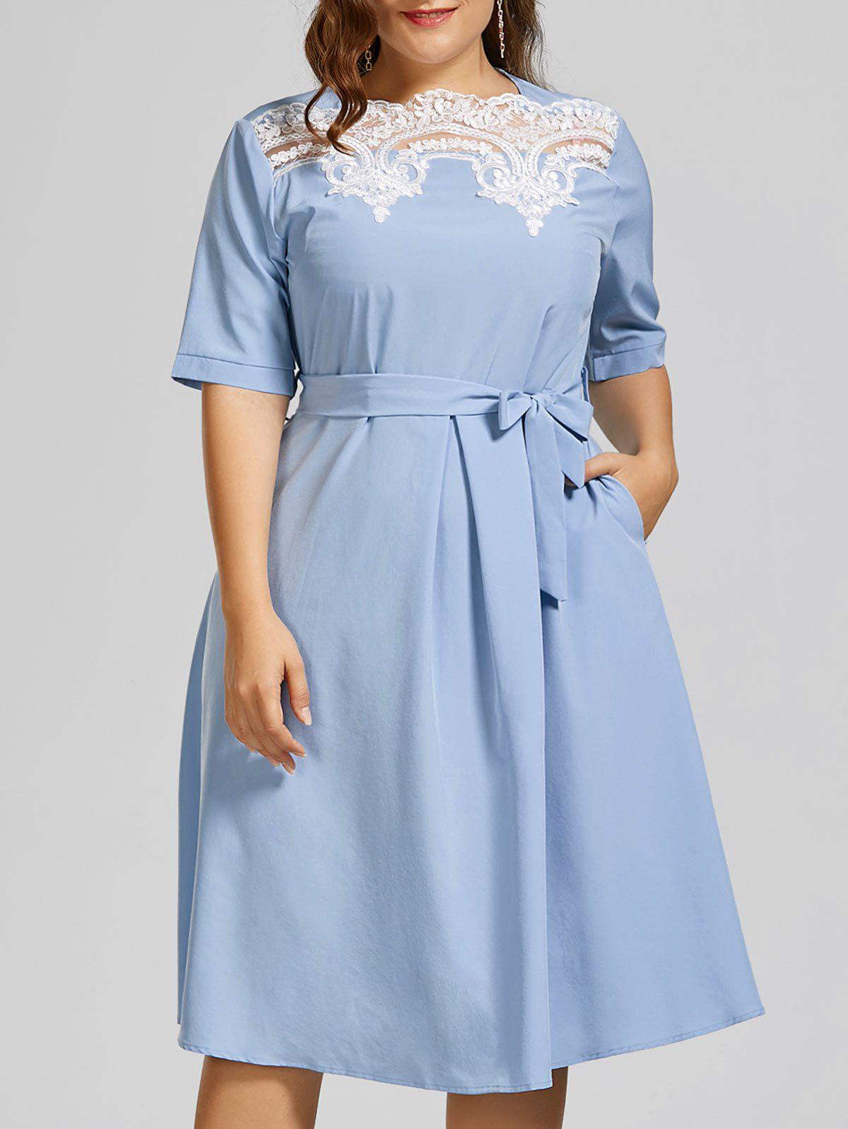 Plus Size Lace Panel Midi Modest Dress - WINDSOR BLUE 3XL