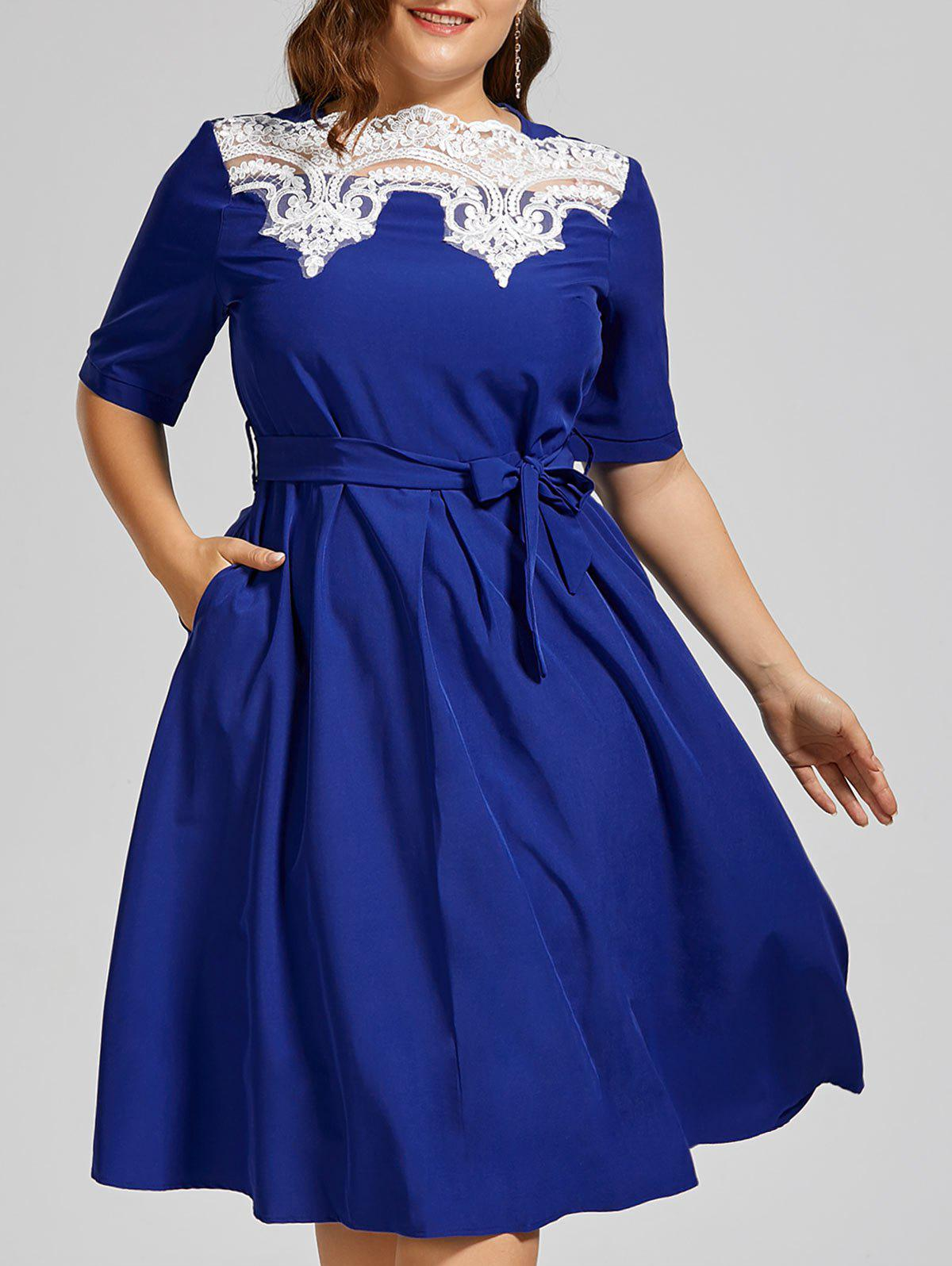 Plus Size Lace Panel Midi Modest Dress midi plus size lace dress