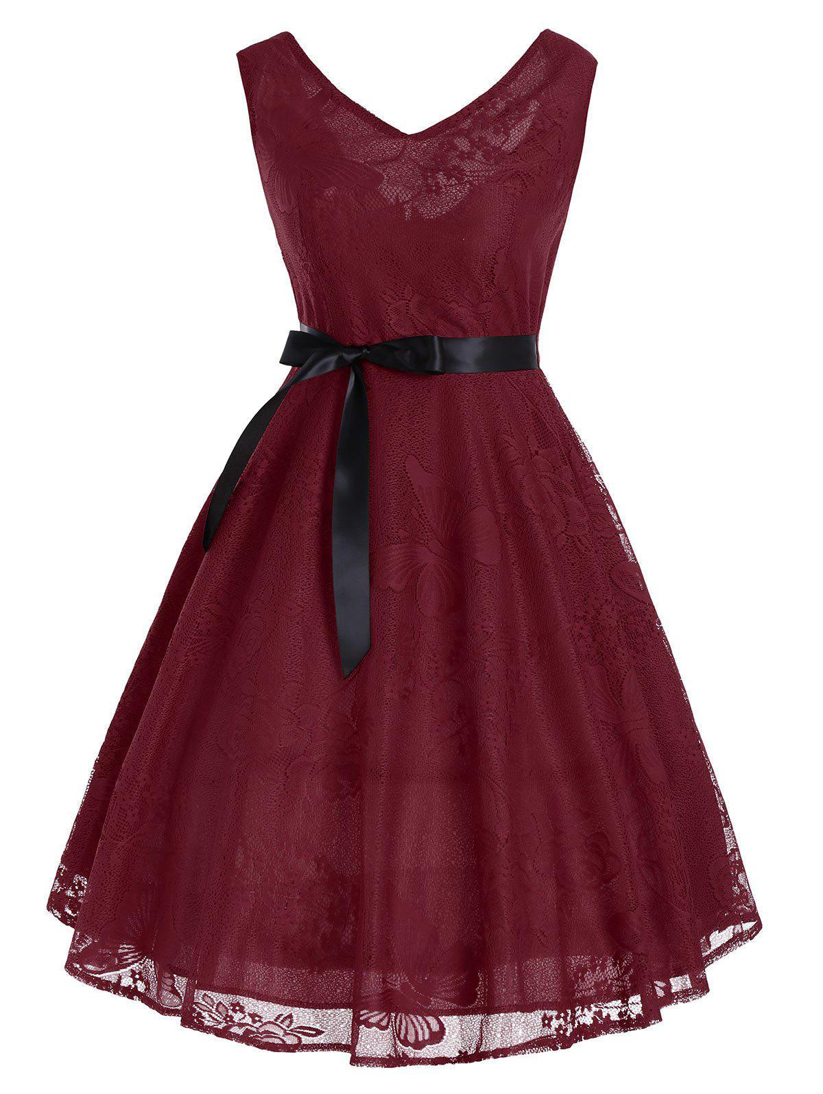 Vintage Floral Butterfly Pattern A Line Dress - WINE RED S