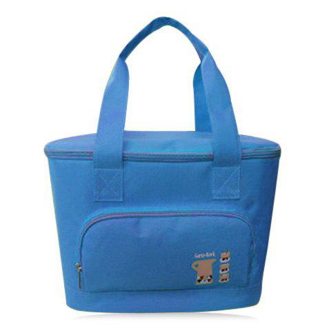Insulated Lunch Bag with Front Pocket - LIGHT BLUE