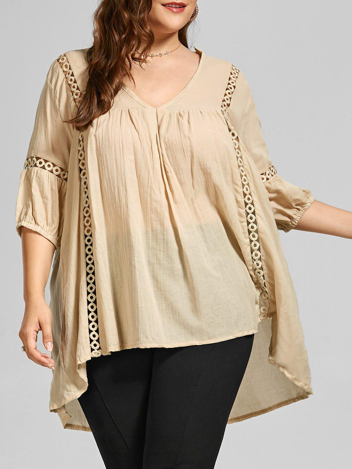 Casual V Neck Plus Size Tunic Top - LIGHT KHAKI 4XL