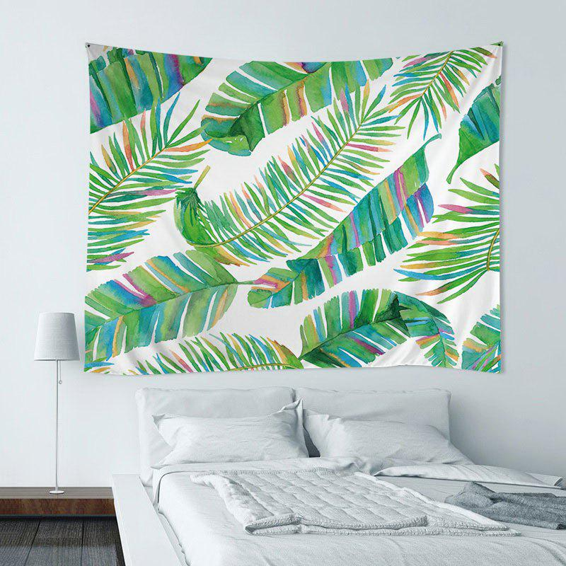 Wall Hanging Art Decor Tropical Leaf Print Tapestry - GREEN W59 INCH*L51 INCH