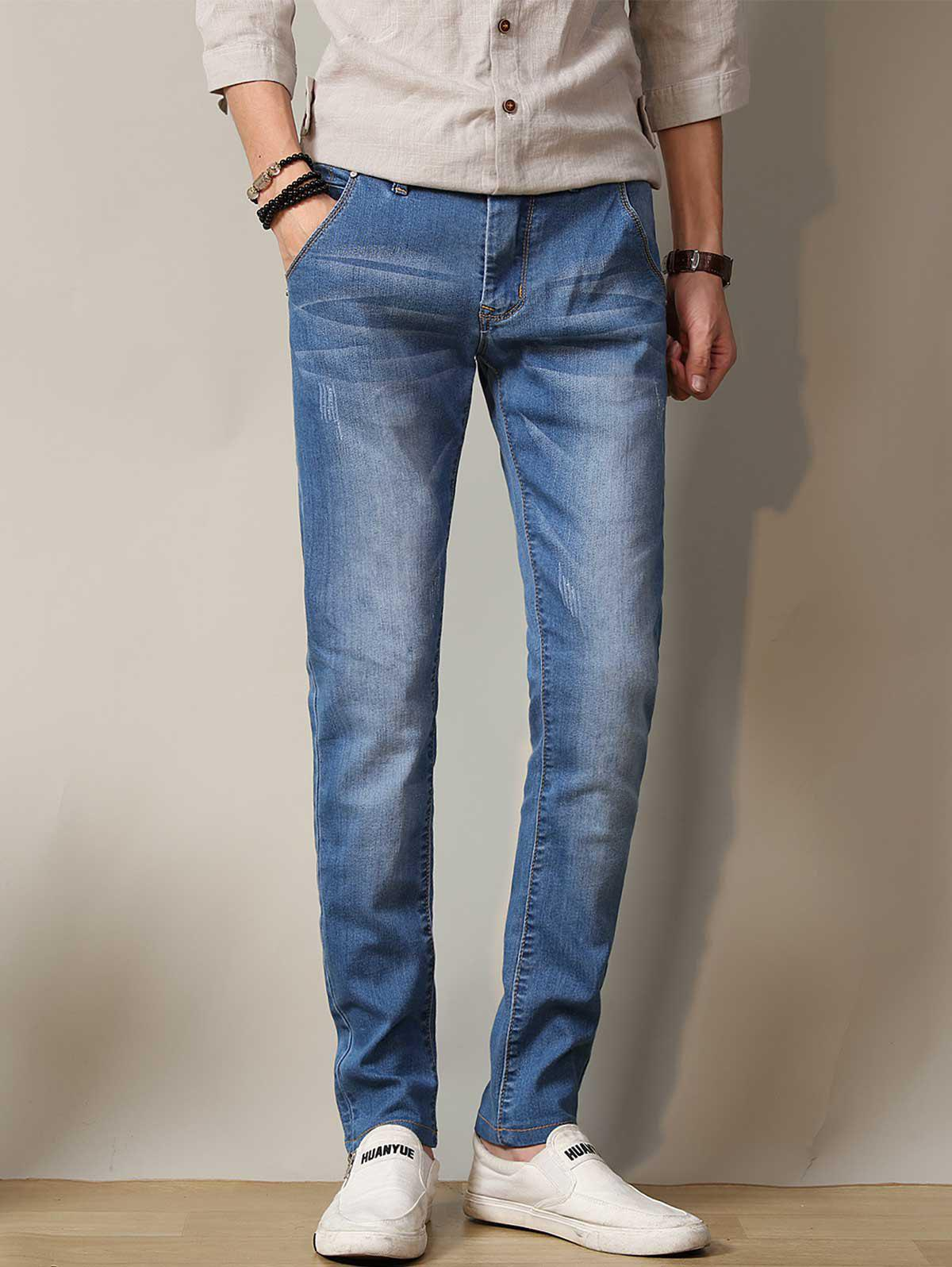 Zipper Fly Straight Leg Stretchy Distressed Jeans zipper fly pocket distressed straight leg jeans page 7