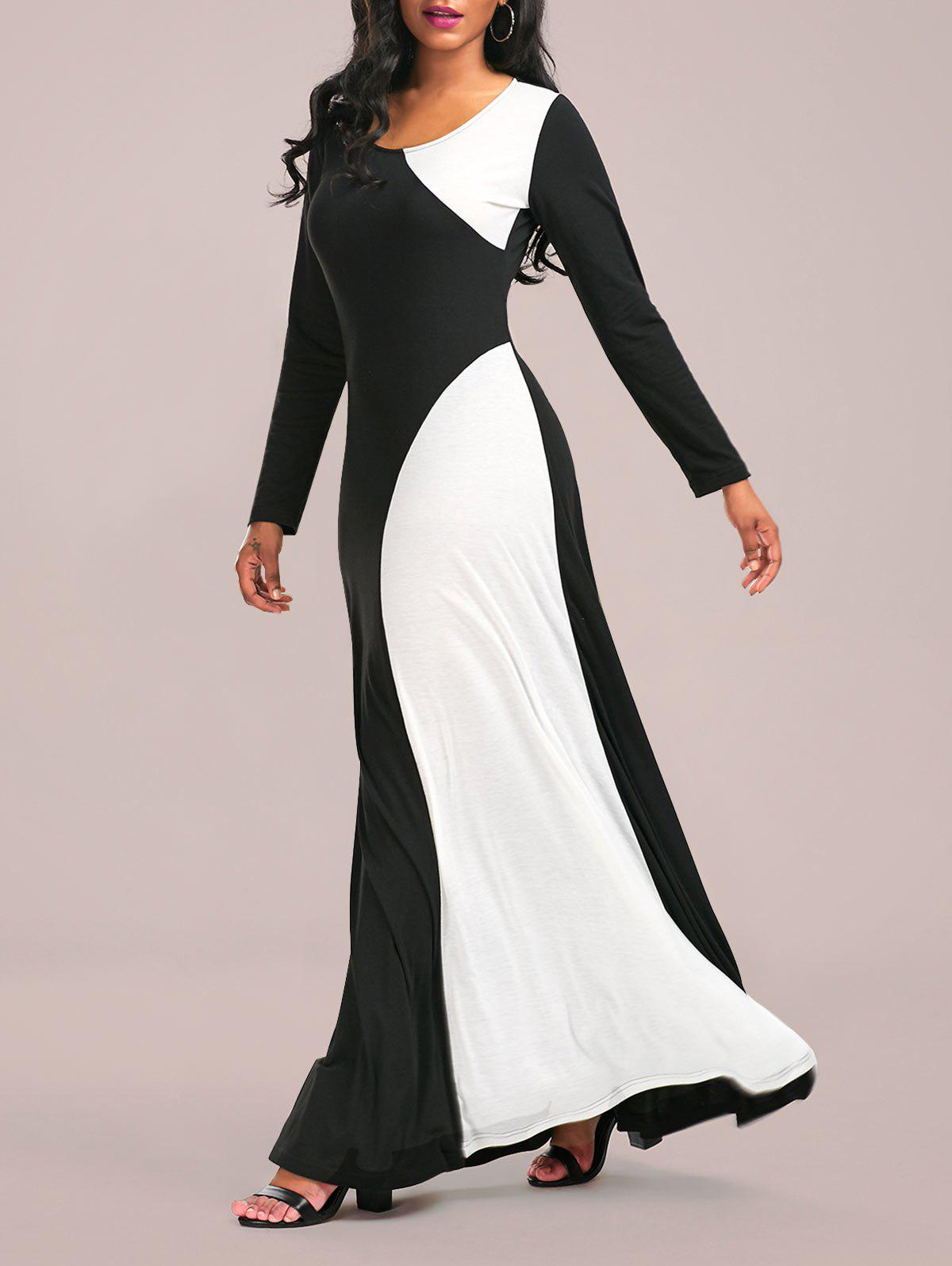Color Block Maxi Formal Dress with Long Sleeve - WHITE/BLACK 2XL