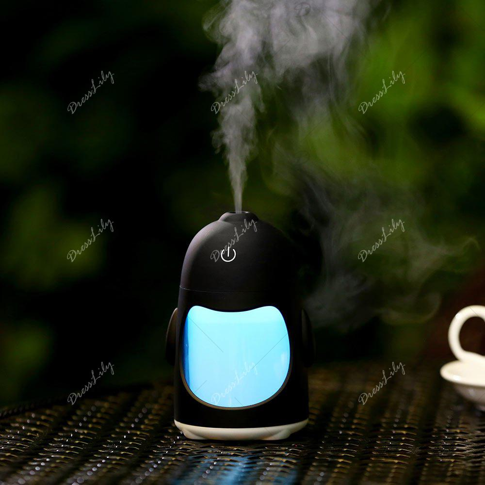 Colorful Night Light USB Chargeable Penguin Mini Humidificateur - Noir