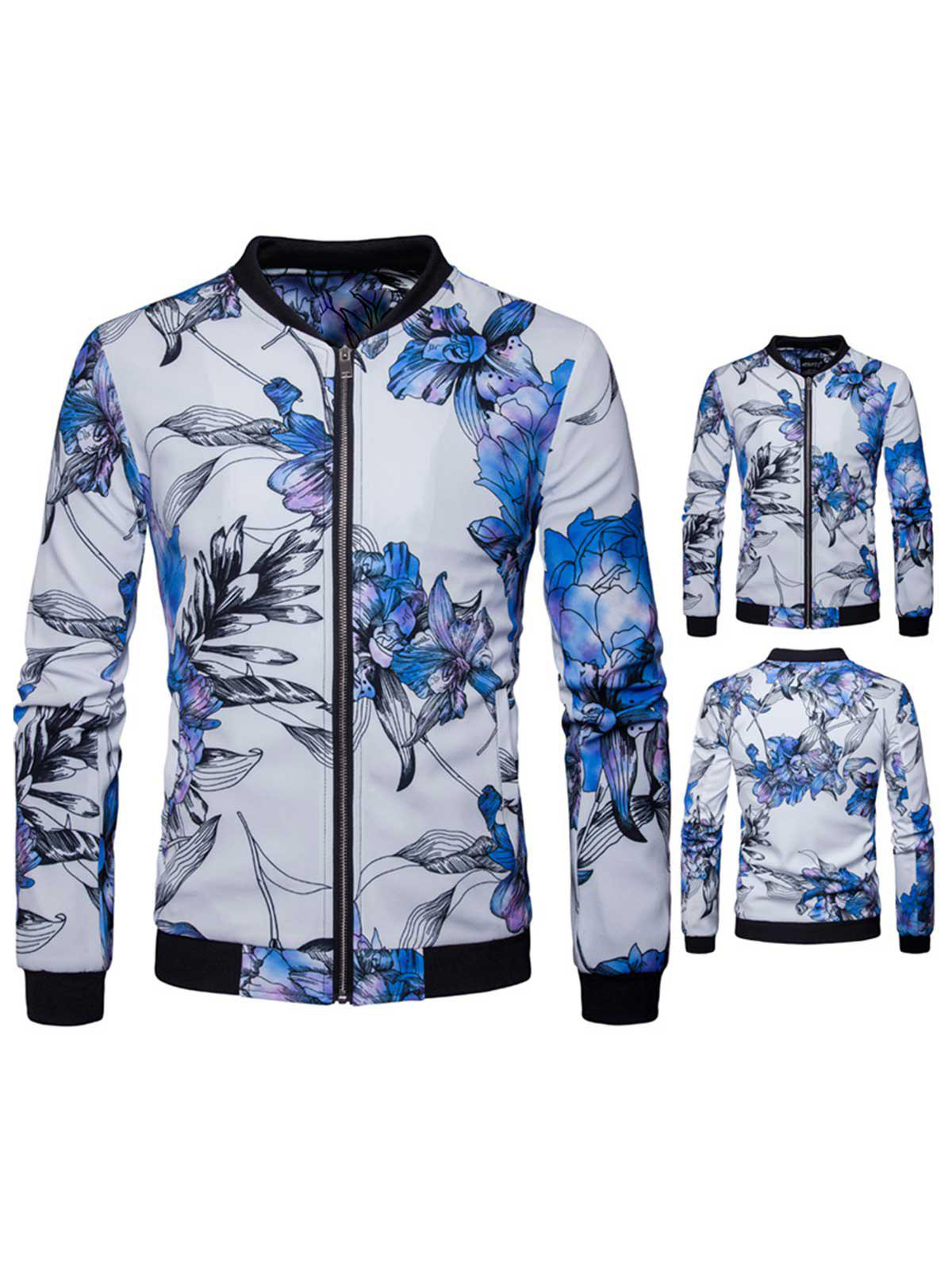 Stand Collar Floral Jacket - WHITE S