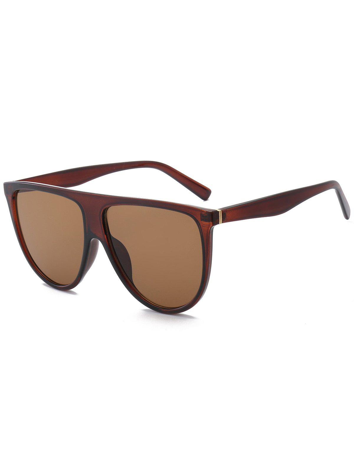 Wide Anti UV Attached Frame Sunglasses - TEA COLORED