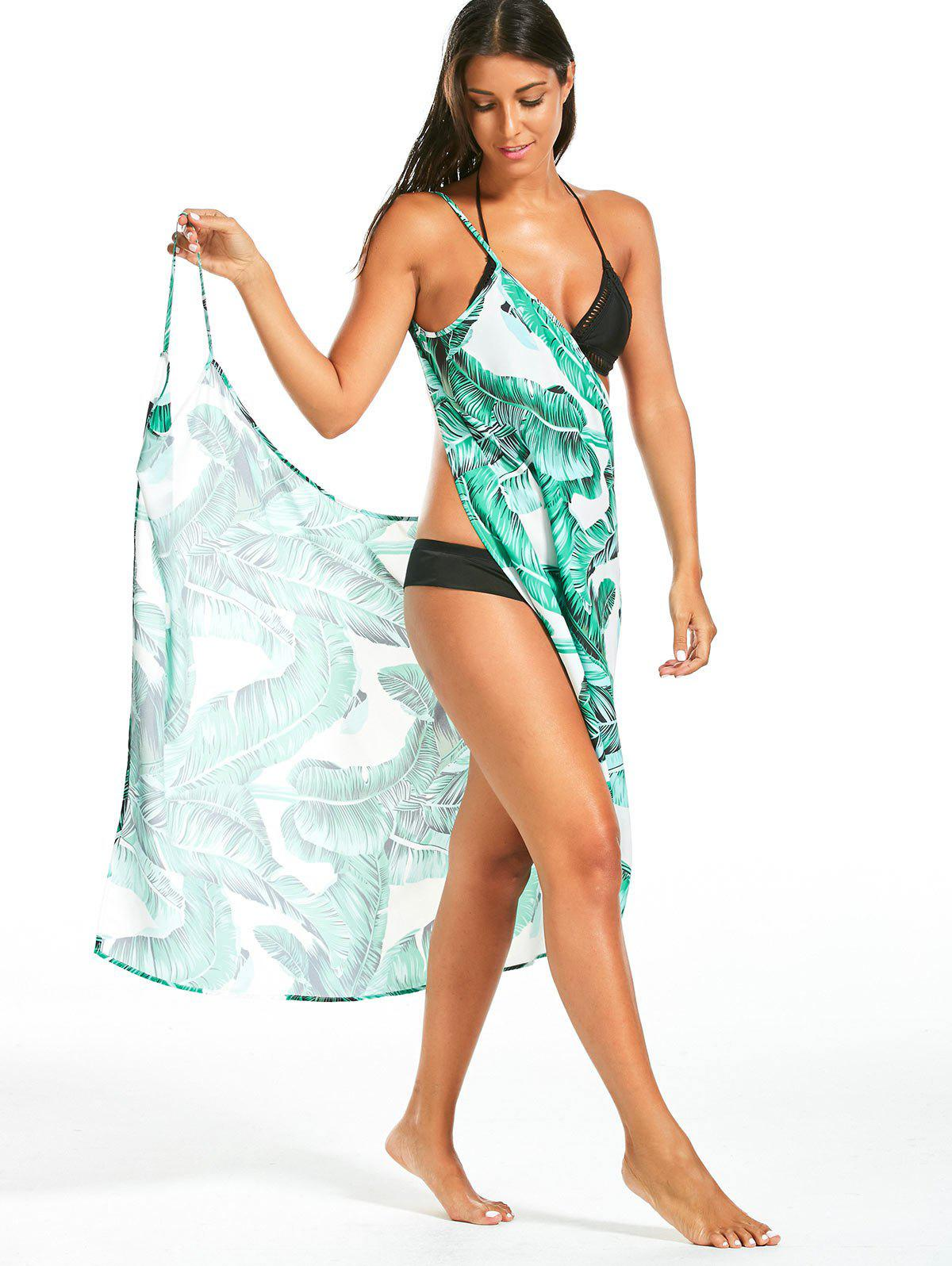 Banana Leaf Print Sarong Cover Up Dress - GREEN XL