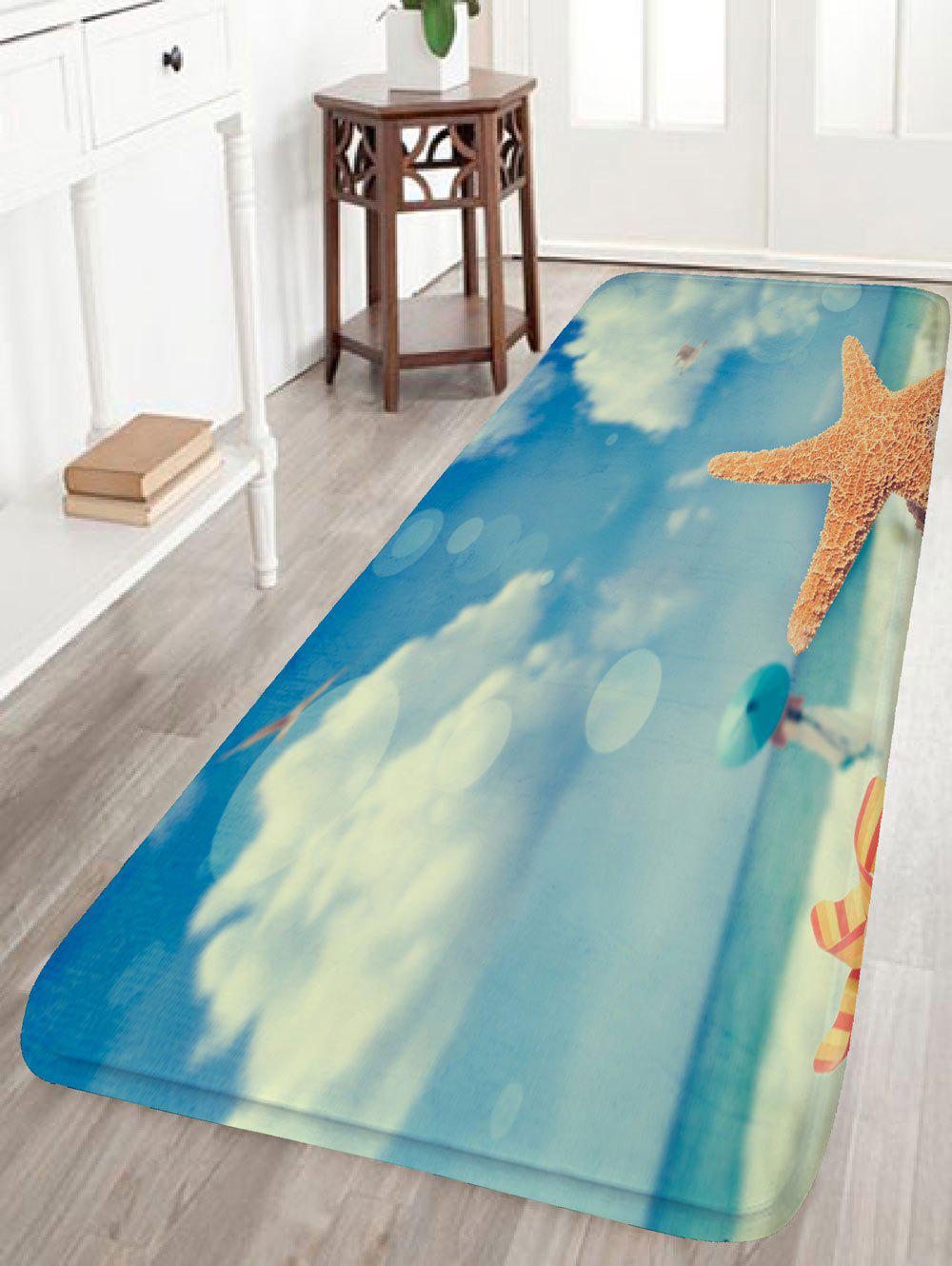 Beach Starfish Girl Skidproof Flannel Rug - BLUE W16 INCH * L47 INCH