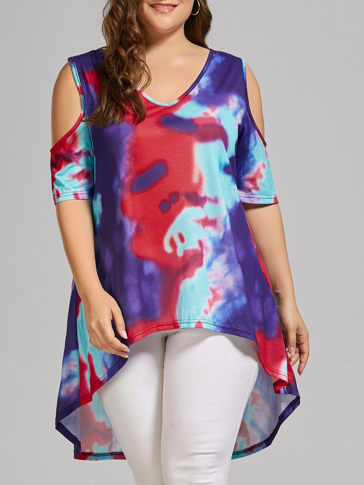 Plus Size Tie Dye Cold Shoulder High Low T-shirt - multicolorCOLOR 2XL