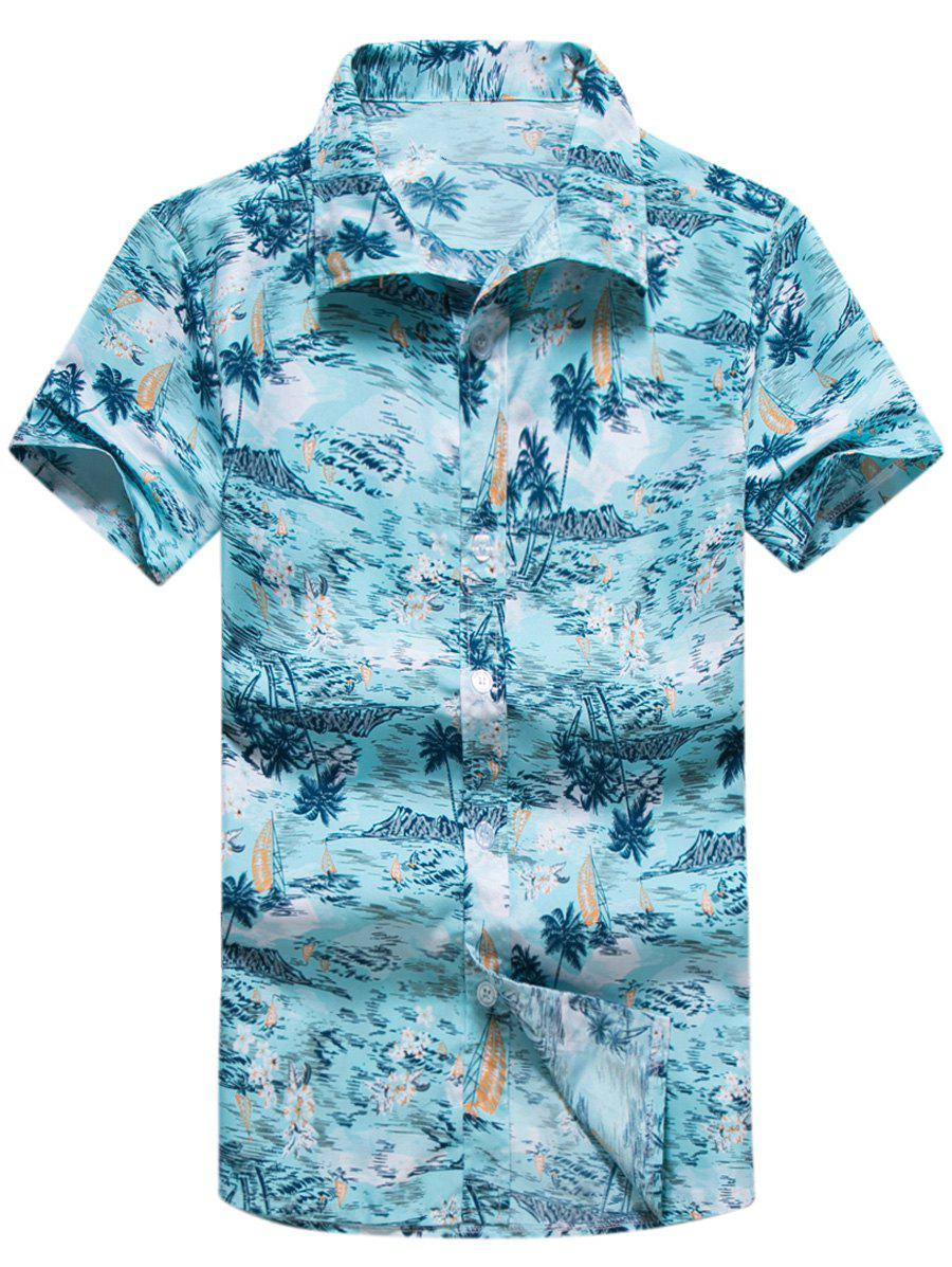 Short Sleeve Coconut Palm Print Hawaiian Shirt - LAKE BLUE 3XL