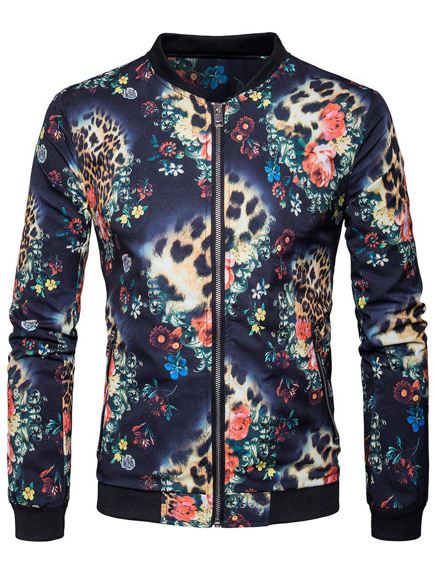 Floral Printed Zipper Pocket Bomber Jacket - COLORMIX M