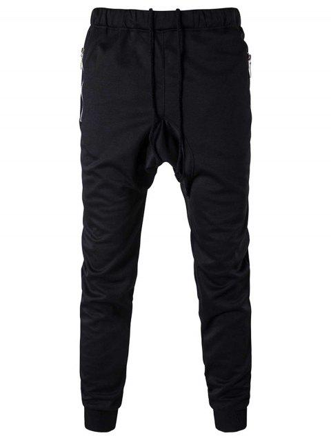 Zipper Pocket Drop Crotch Drawstring Jogger Pants - Noir L