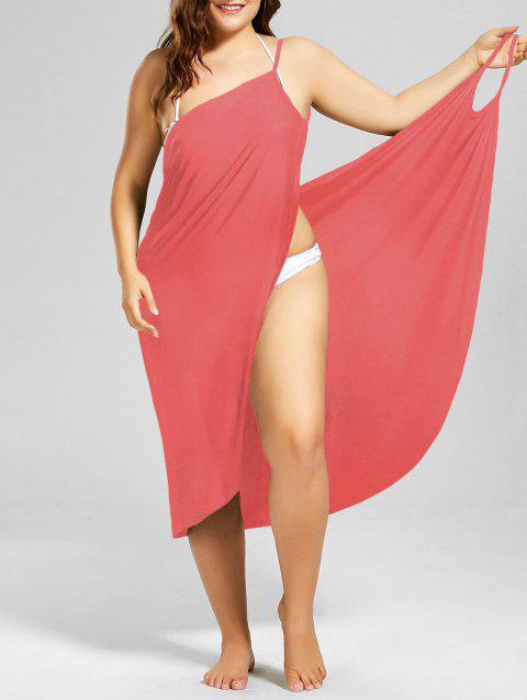 Plus Size Beach Cover-up Wrap Dress - WATERMELON RED 2XL