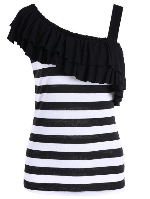 5319930cf2 41% OFF  2019 Skew Collar Ruffle Striped Top In BLACK   WHITE L ...