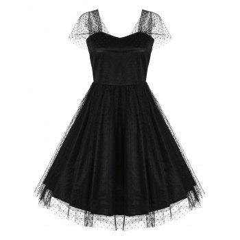 Polka Dot A Line Mesh Party Dress