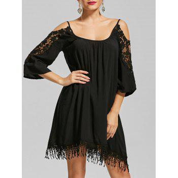 Cold Shoulder Lace Trim Fringe Mini Dress