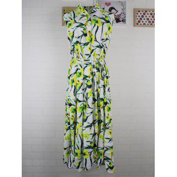 Cute Women's Sleeveless Buttoned Stand-Up Collar Floral Print Dress