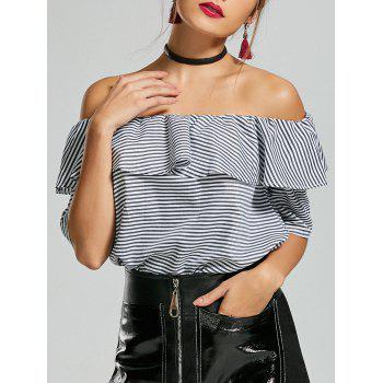 Striped Off The Shoulder Ruffle Top