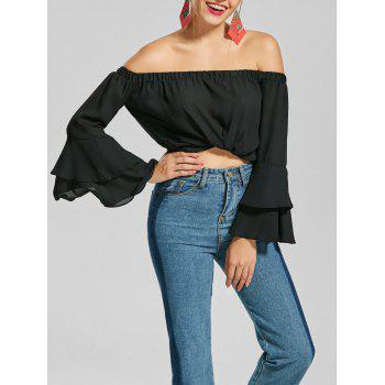 Chiffon Off The Shoulder Flare Sleeve Top