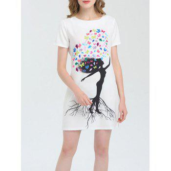 Butterfly Print Short Sleeve Mini Dress