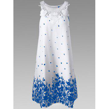 Lace Trim Racerback Floral Tent Dress