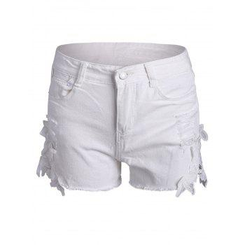 Lace Insert Frayed Ripped Denim Shorts