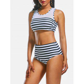 Openwork Mesh Insert Striped Crop Top Bikini