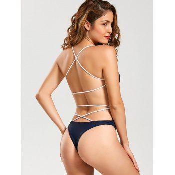 Backless U Neck Strappy Monokini - Bleu Violet L