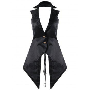 Lace Up Notched Collar Open Back Waistcoat - BLACK XL