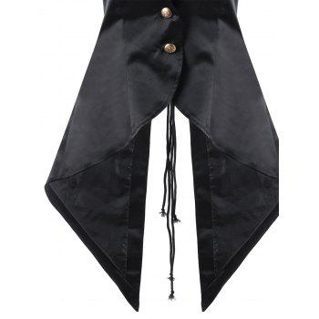 Lace Up Notched Collar Open Back Waistcoat - BLACK BLACK