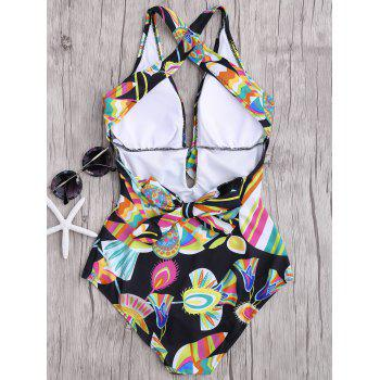 Floral One Piece Criss Cross Backless Swimsuit - COLORMIX S