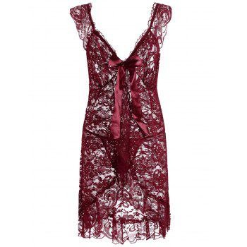 Plunging Neck See Thru Lace Plus Size Babydoll