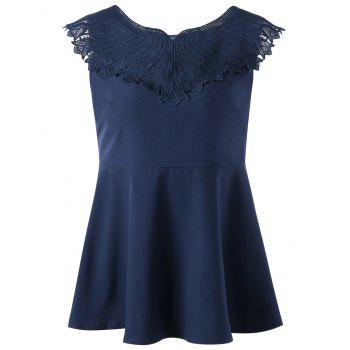 Lace Appliqued Sleeveless Peplum Top