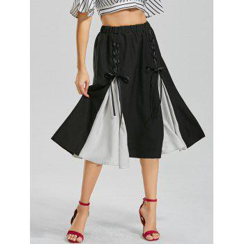 Color Block Midi Lace-up Skirt