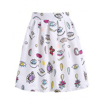 A Line Printed Knee Length Skirt