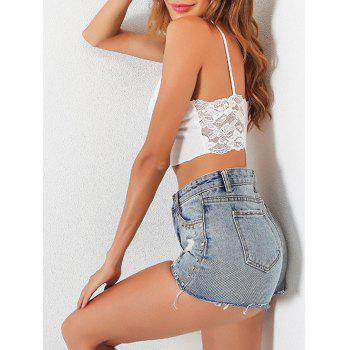 Backless Lace Insert Cami Crop Top - Blanc M