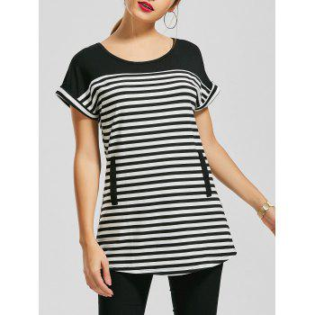Short Sleeve Striped Tunic Top