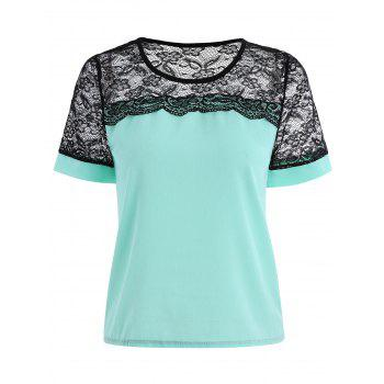 Short Sleeve Lace Trim Chiffon Top