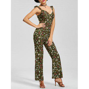 Floral V Neck Boot Cut Jumpsuit