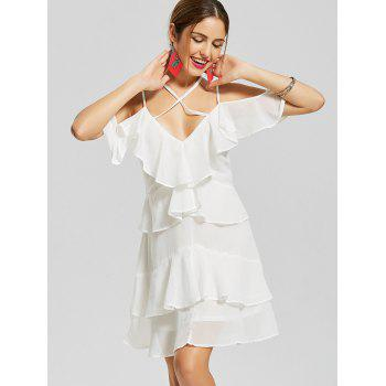 Cold Shoulder Layered Mini Chiffon Dress - WHITE S
