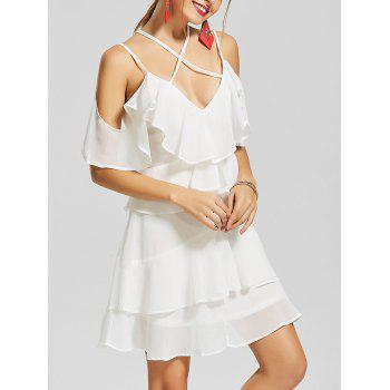 Cold Shoulder Layered Mini Chiffon Dress