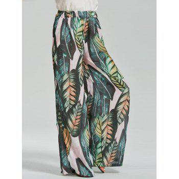 Trapical Leaf Print Wide Leg Exumas Pants