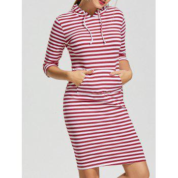 Kangaroo Pocket Striped Hoodie Dress