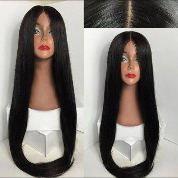 Ultra Long Center Part Glossy Straight Synthetic Wig