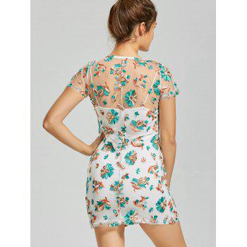 Floral Embroidery T Shirt See Thru Dress - COLORMIX S